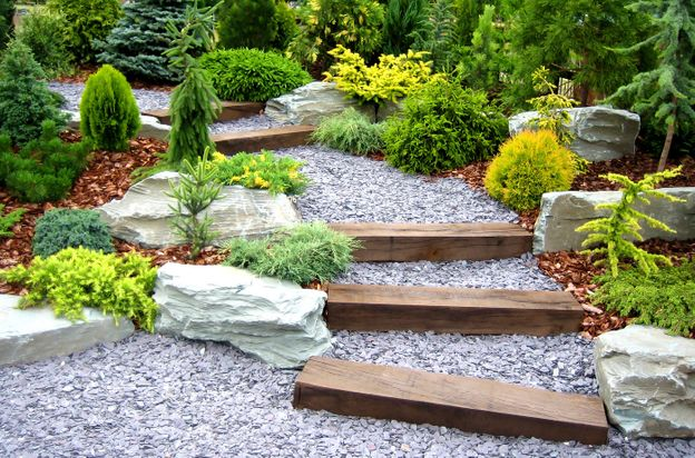 Landscaped garden path and steps